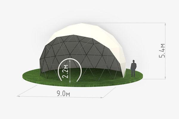 Схема сферического шатра диаметром 9 метров
