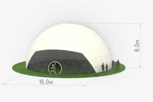 Схема сферического шатра диаметром 16 метров