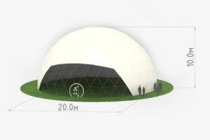 Схема сферического шатра диаметром 20 метров