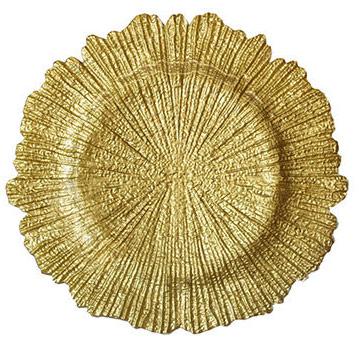 Подстановочная тарелка Коралл розовое золото