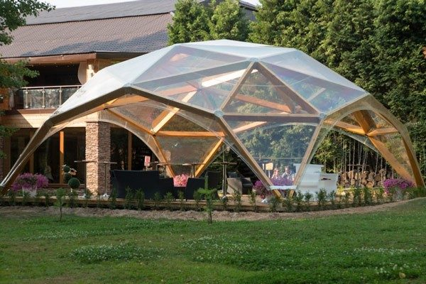Деревянный шатер прозрачный WOOD 10