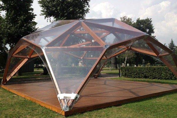Деревянный шатер прозрачный WOOD 8