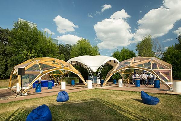 Деревянный шатер прозрачный WOOD 6