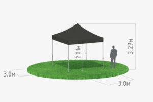 Мобильный шатер-трансформер 3х3 черный схема
